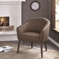 Madison Park Camilla Barrel Back Accent Chair in Roma Hot Stone