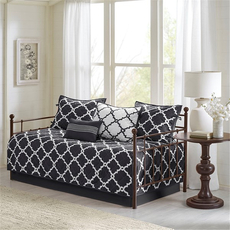 Madison Park Essentials Merritt 6 Piece Reversible Daybed Set in Black by JLA Home