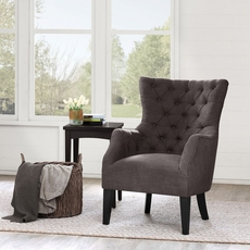 Madison Park Hannah Button Tufted Wing Back Chair in Kara Mushroom