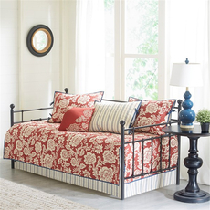 Madison Park Lucy 6 Piece Cotton Twill Reversible Daybed Set in Red by JLA Home