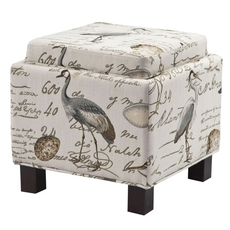 Madison Park Shelley Square Storage Ottoman with Pillows in Birdsong Seamist