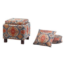 Madison Park Shelley Square Storage Ottoman with Pillows in Navajo Bali