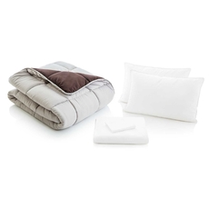Malouf Woven Split Queen Size Reversible Bed in a Bag in Driftwood and Coffee