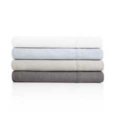 Malouf Woven French Linen Split California King Size Sheet Set in Charcoal