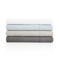 Malouf Woven French Linen Queen Size Sheet Set in White