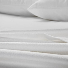 Malouf Woven Portuguese Flannel King Size Sheet Set in White