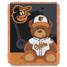 Baltimore Orioles MLB Field Bear Woven Jacquard Baby Throw by Northwest Company