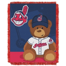Cleveland Indians MLB Field Bear Woven Jacquard Baby Throw by Northwest Company