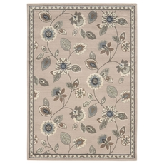 Oriental Weavers Brentwood 501J Floral Stone and Blue Area Rug