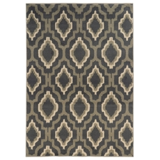 Oriental Weavers Brentwood 5501D Geometric Ikat Charcoal and Taupe Area Rug