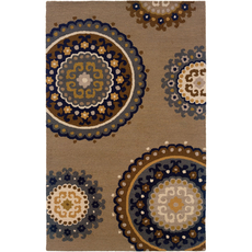 Oriental Weavers Eden 87105 Floral Taupe and Blue Area Rug