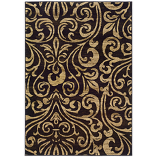 Oriental Weavers Emerson 2033C Botanical Black and Gold Area Rug