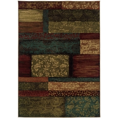 Oriental Weavers Emerson 2480C Geometric Brown and Teal Area Rug