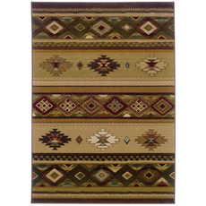 Oriental Weavers Genesis 090J Southwest Lodge Beige and Green Area Rug