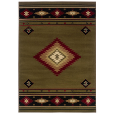 Oriental Weavers Hudson 087J Southwest Lodge Green and Red Area Rug
