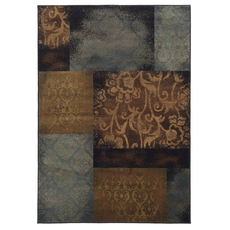 Oriental Weavers Hudson 4878B Geometric Floral Blue and Brown Area Rug