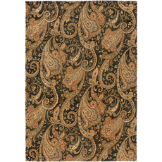 Oriental Weavers Huntley 19104 Floral Black and Gold Area Rug