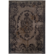 Oriental Weavers Revival 119L Oriental Overdyed Grey and Black Area Rug