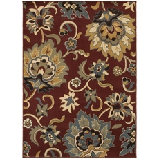 Oriental Weavers Stratton 6034C Floral Red and Gold Area Rug