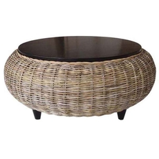 Padma's Plantation Paradise Ottoman with Wood Top