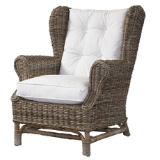 Padma's Plantation Wing Chair in Kubu Grey with White Cushion