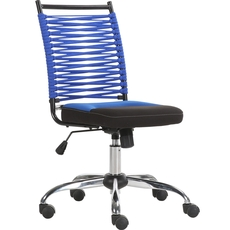 Parker House Bungee Low Back Adjustable Office Chair in Blue and Black