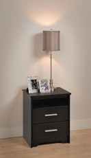 Prepac Coal Harbor 2 Drawer Tall Nightstand with Open Shelf in Black
