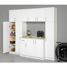 Prepac Elite Garage / Laundry Room 32 Inch Stackable Double Wall Cabinet in White