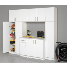 Prepac Elite Garage / Laundry Room 32 Inch Wardrobe Cabinet in White