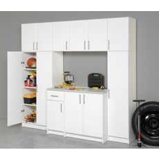 Prepac Elite Garage / Laundry Room 54 Inch Wall Triple Cabinet in White