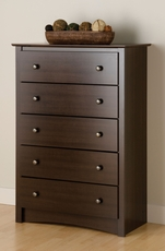 Prepac Fremont 5 Drawer Chest in Espresso