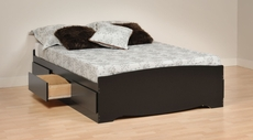 Prepac Full Mate's Platform Storage Bed with 6 Drawers in Black