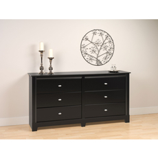 Prepac Kallisto 6 Drawer Dresser in Black