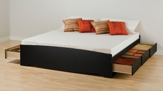 Prepac King Mate's Platform Storage Bed with 6 Drawers in Black
