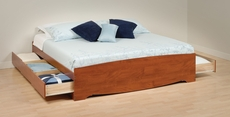 Prepac King Mate's Platform Storage Bed with 6 Drawers in Cherry