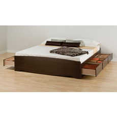 Prepac King Mate's Platform Storage Bed with 6 Drawers in Espresso
