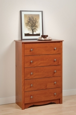 Prepac Monterey 5 Drawer Chest in Cherry