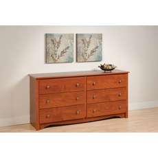 Prepac Monterey 6 Drawer Dresser in Cherry