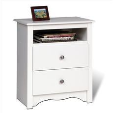 Prepac Monterey Tall 2 Drawer Nightstand with Open Shelf in White