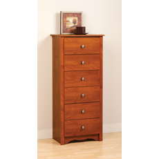 Prepac Monterey Tall 6 Drawer Chest in Cherry
