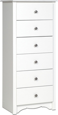 Prepac Monterey Tall 6 Drawer Chest in White