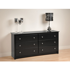 Prepac Sonoma 6 Drawer Dresser in Black