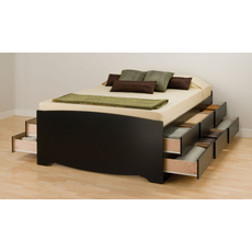 Prepac Tall Captain's Platform Storage Bed with Drawers in Black
