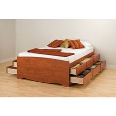 Prepac Tall Captain's Platform Storage Bed with Drawers in Cherry