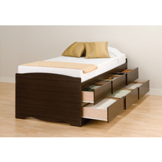 Prepac Tall Captain's Platform Storage Bed with Drawers in Espresso