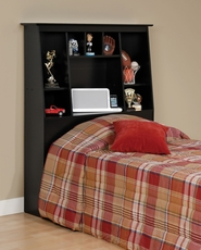 Prepac Tall Slant Back Bookcase Headboard in Black