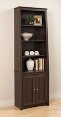 Prepac Tall Slant-Back Bookcase with 2 Shaker Doors in Espresso