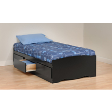 Prepac Twin Mate's Platform Storage Bed with 3 Drawers in Black