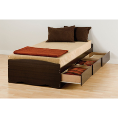 Prepac Twin XL Mate's Platform Storage Bed with 3 Drawers in Espresso