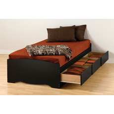 Prepac Twin XL Mate's Platform Storage Bed with 3 Drawers in Black